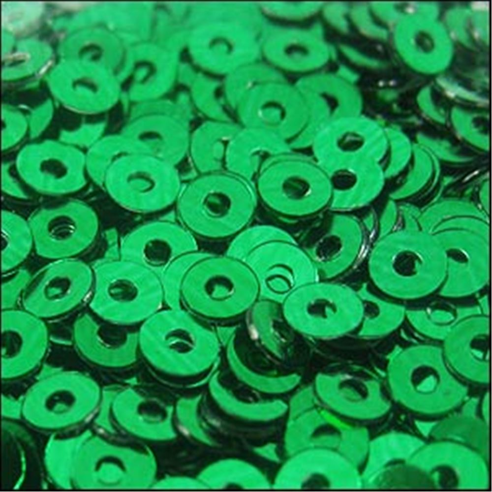 Metallic Emerald Flat Sequins. 3mm