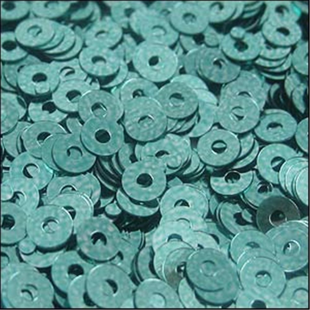 Metallic Green Aqua Flat Sequins. 3mm