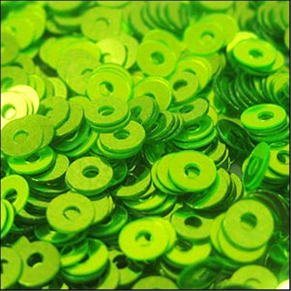 Metallic Lime Green Flat Sequins. 3mm