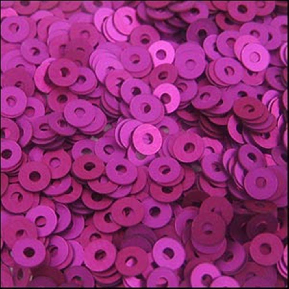 Matte Fuchsia Flat Sequins. 3mm