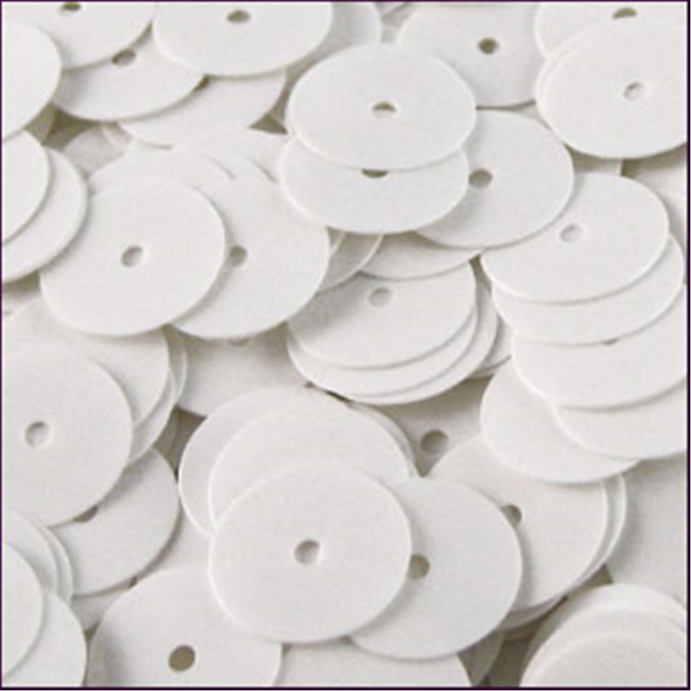Glossy White Flat Sequins. 8mm