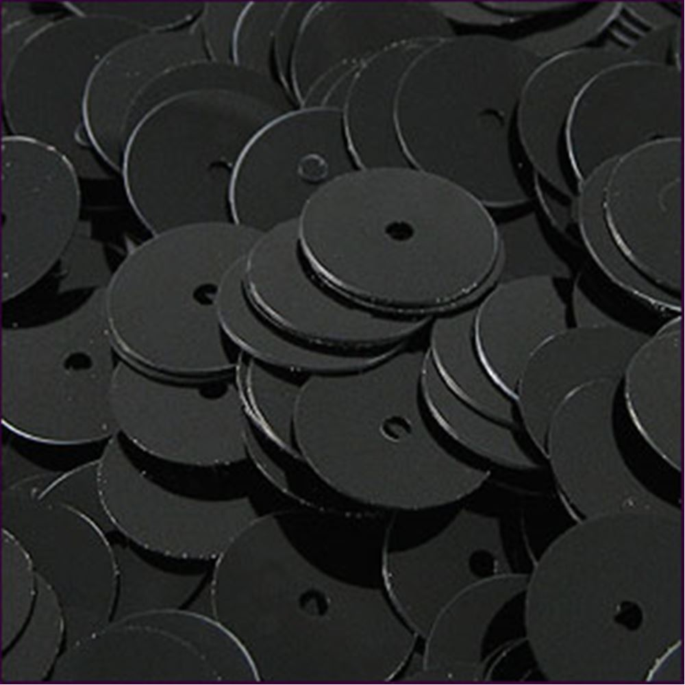Glossy Black Flat Sequins. 8mm