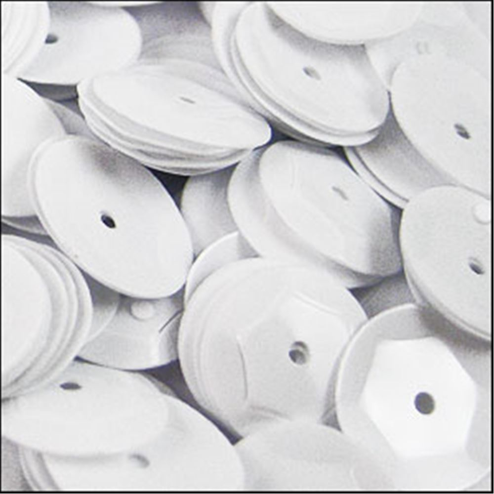 Glossy White Cup Sequins. 8mm