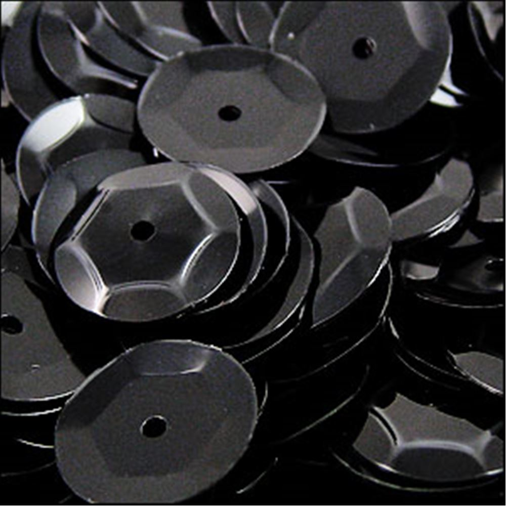 Glossy Black Cup Sequins. 8mm