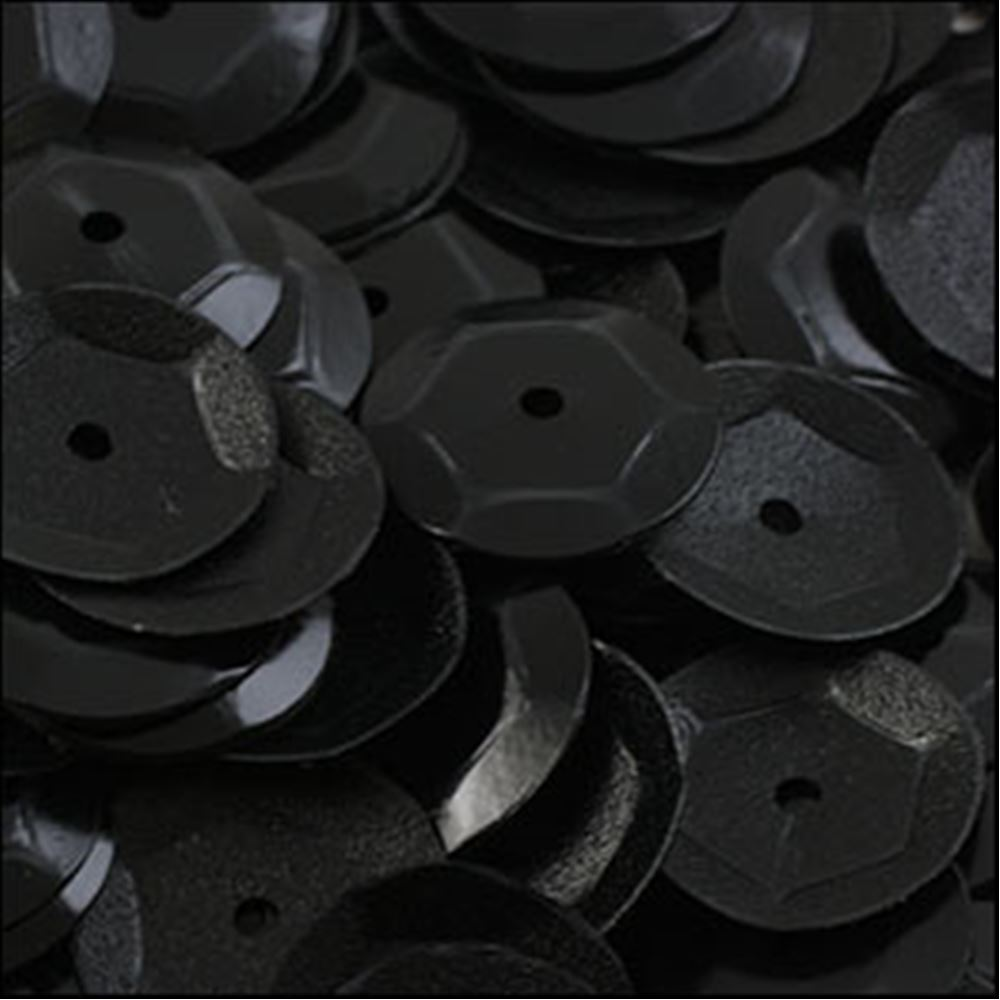 Matte Black Cup Sequins. 8mm
