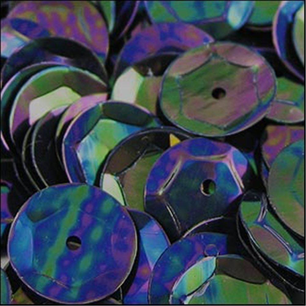 Metallic Petrol Black Cup Sequins. 8mm