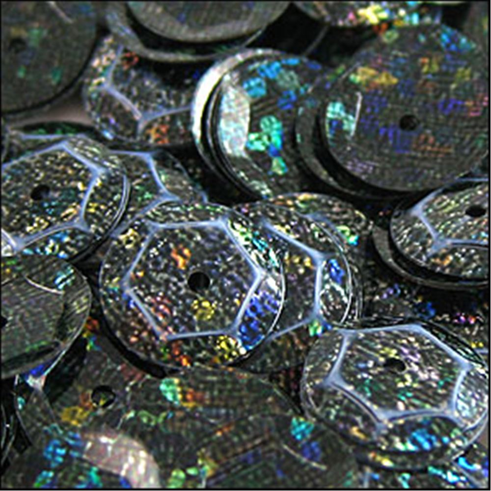 Hologram Black Cup Sequins. 8mm