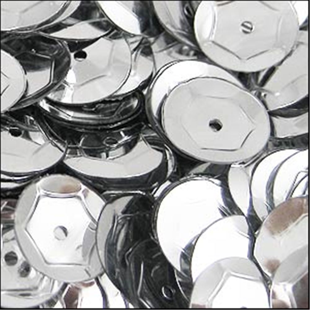 Metallic Silver Cup Sequins. 8mm