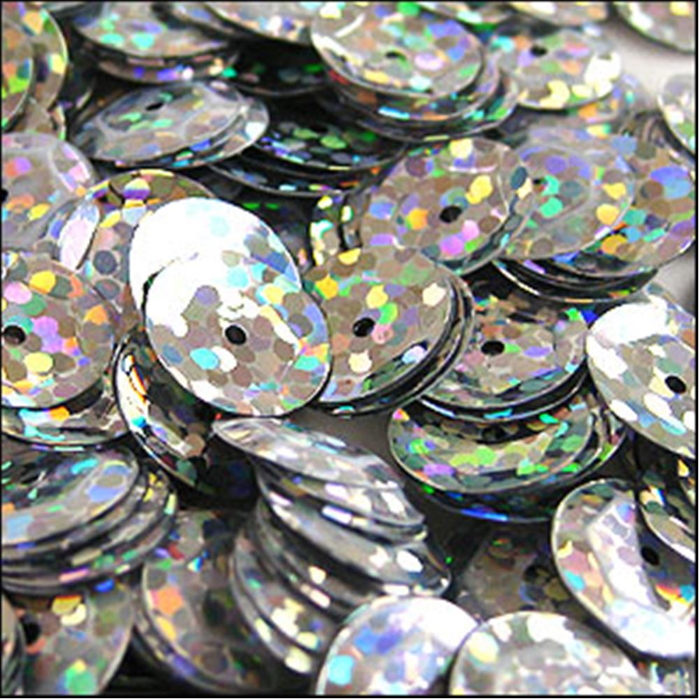 Hologram Silver Cup Sequins. 8mm