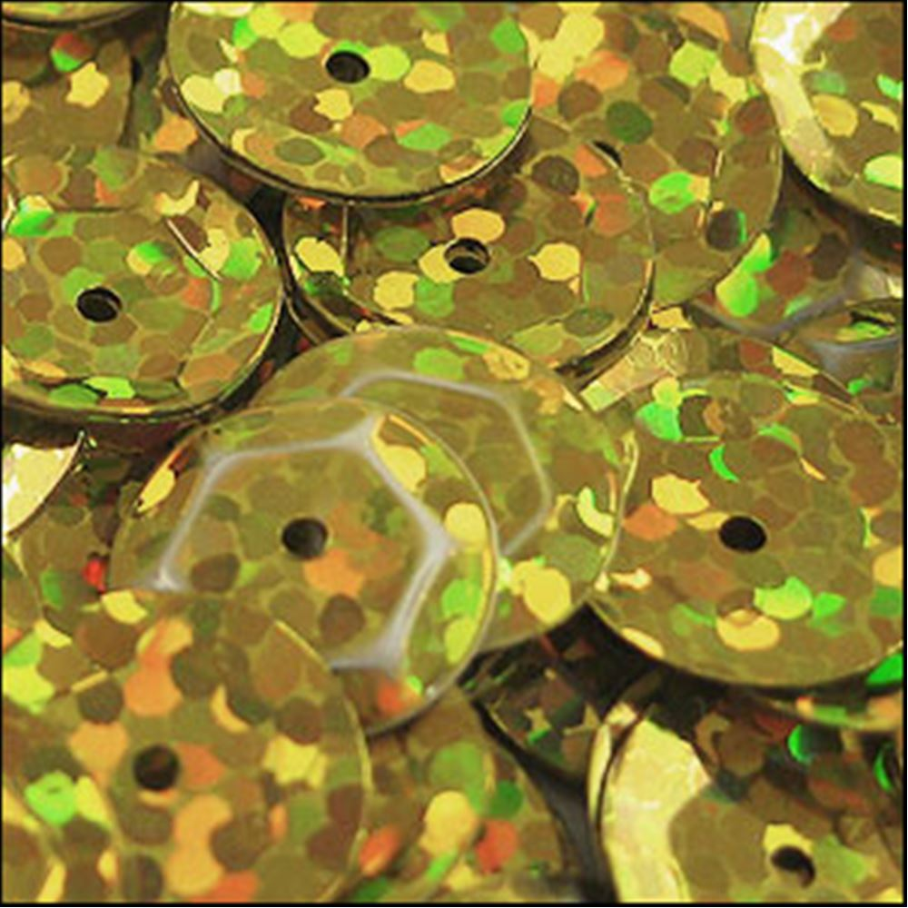Hologram Gold Cup Sequins. 8mm