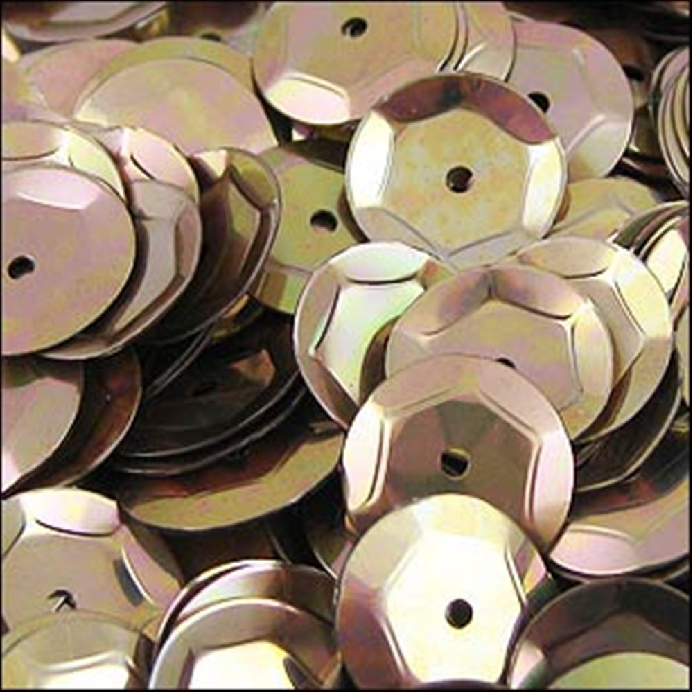 Metallic Antique Gold Cup Sequins. 8mm