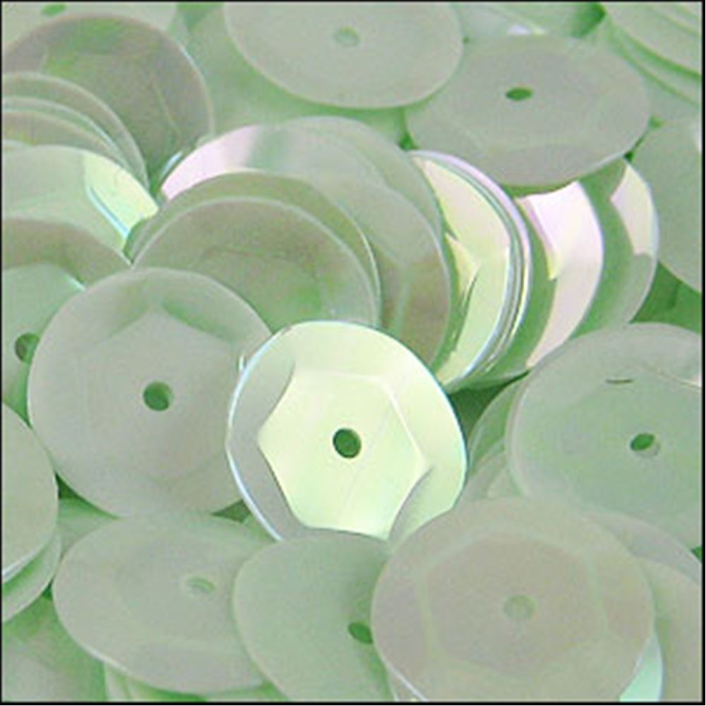 Glossy Green Opal Cup Sequins. 8mm
