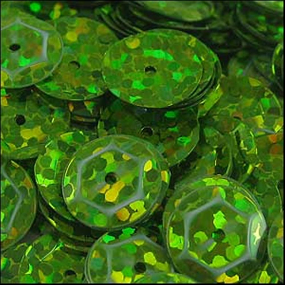 Hologram Lime Green Cup Sequins. 8mm