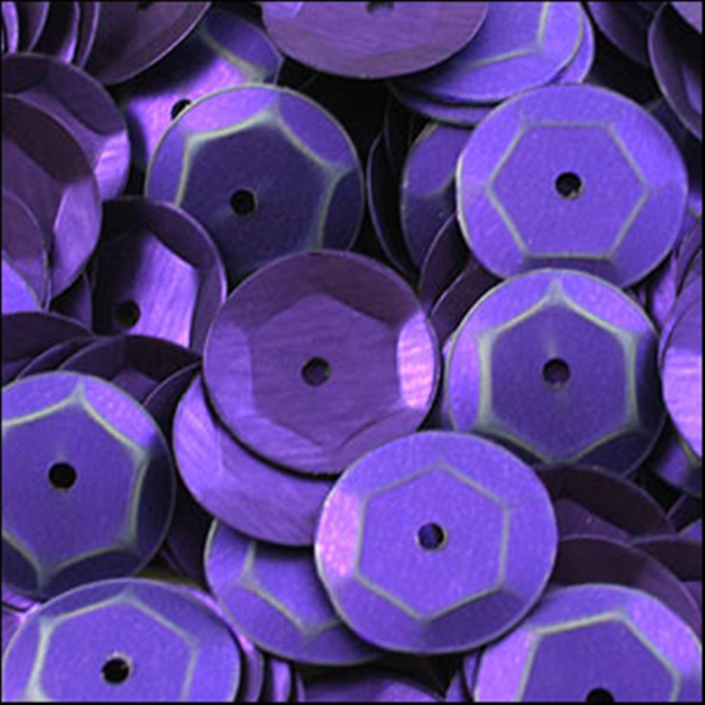 Matte Purple Cup Sequins. 8mm