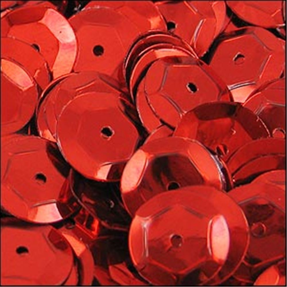 Metallic Red Cup Sequins. 8mm