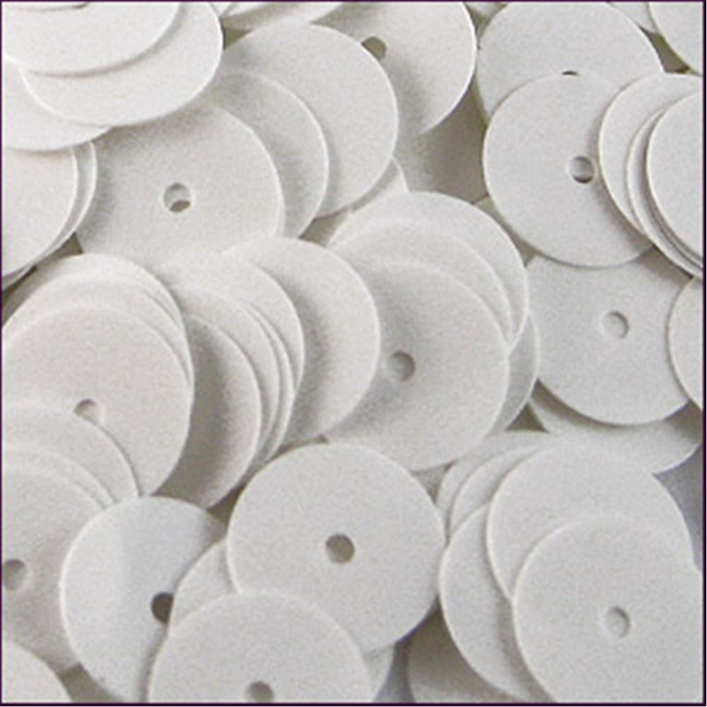 Glossy White Flat Sequins. 10mm