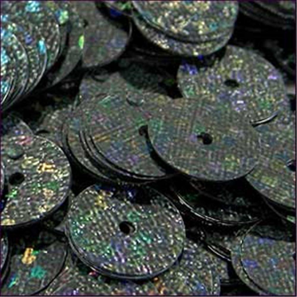 Hologram Black Flat Sequins. 10mm