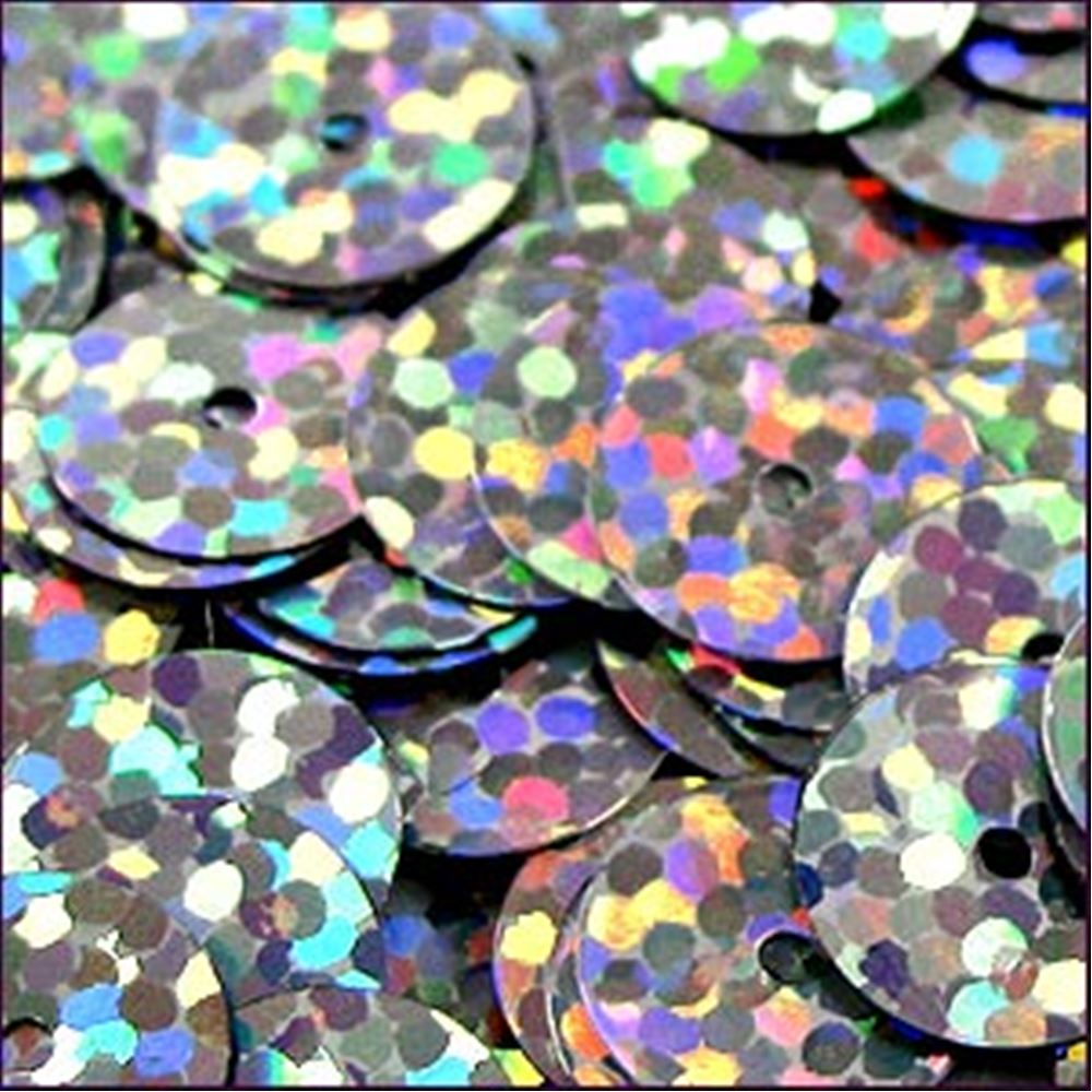 Hologram Silver Flat Sequins. 10mm