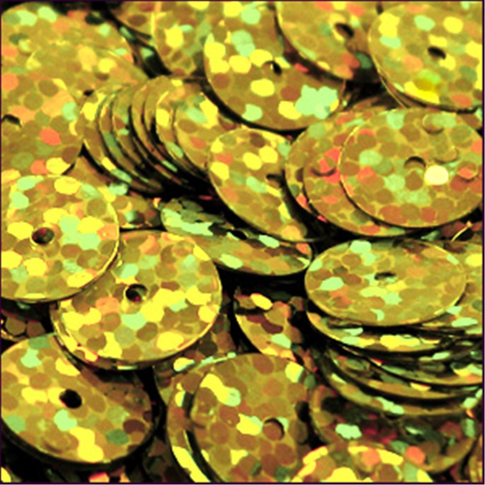 Hologram Gold Flat Sequins. 10mm
