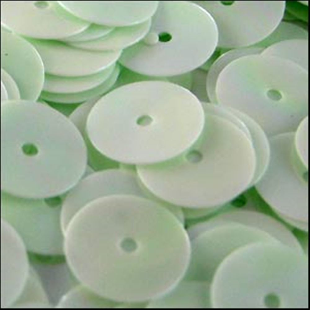 Glossy Green Opal Flat Sequins. 10mm