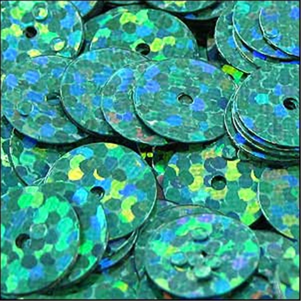 Hologram Amazon Green Flat Sequins. 10mm