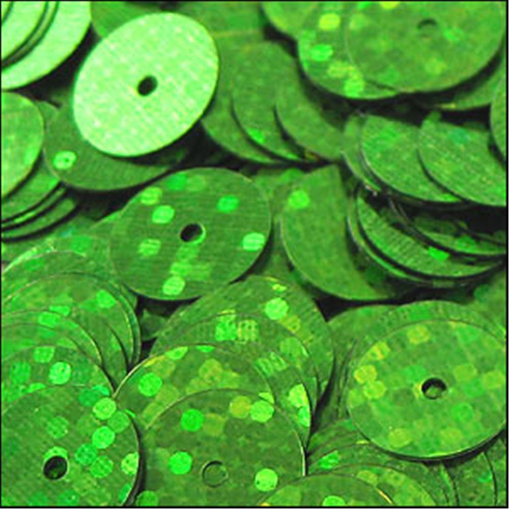 Hologram Lime Green Flat Sequins. 10mm