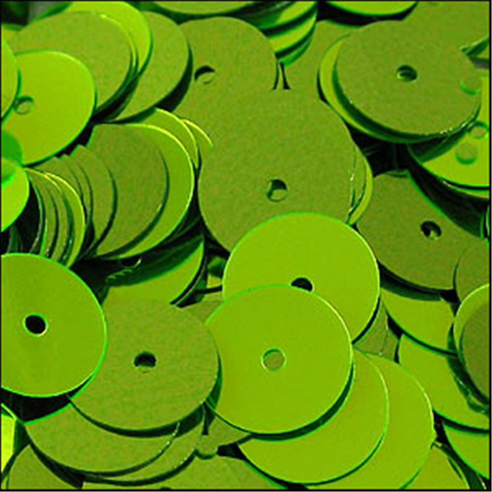 Metallic Lime Green Flat Sequins. 10mm