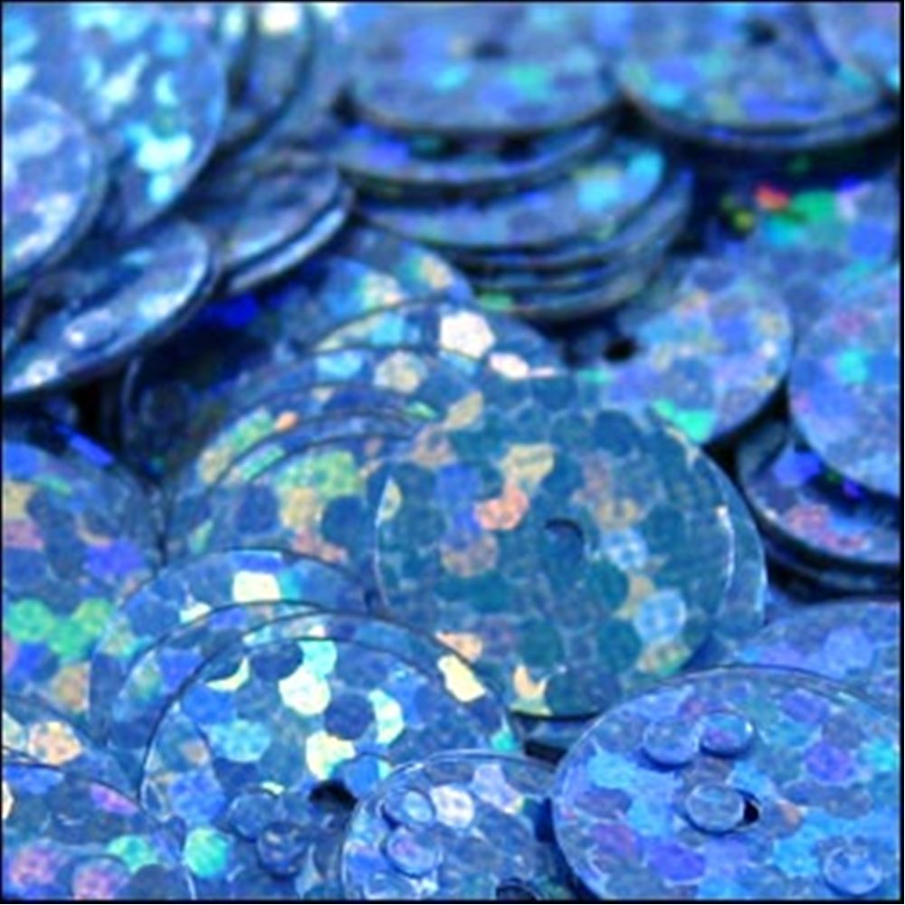 Hologram Peacock Blue Flat Sequins. 10mm