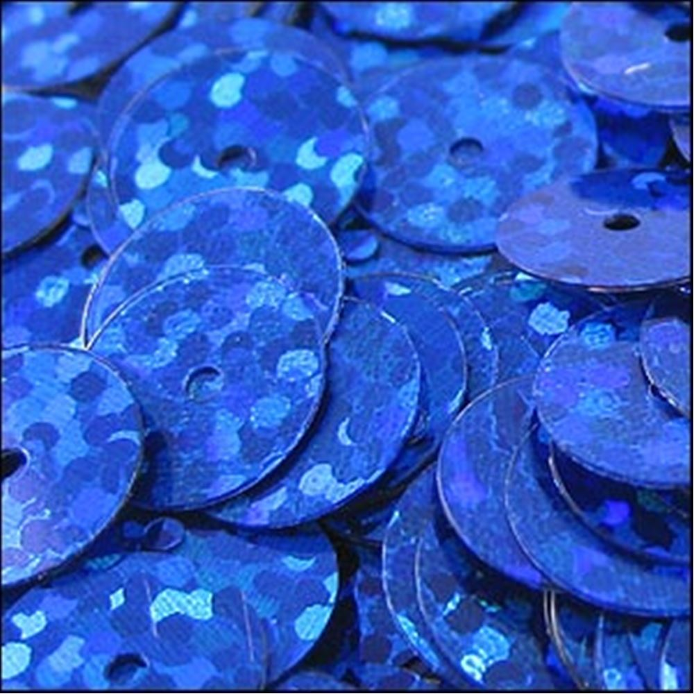 Hologram Royal Blue Flat Sequins. 10mm