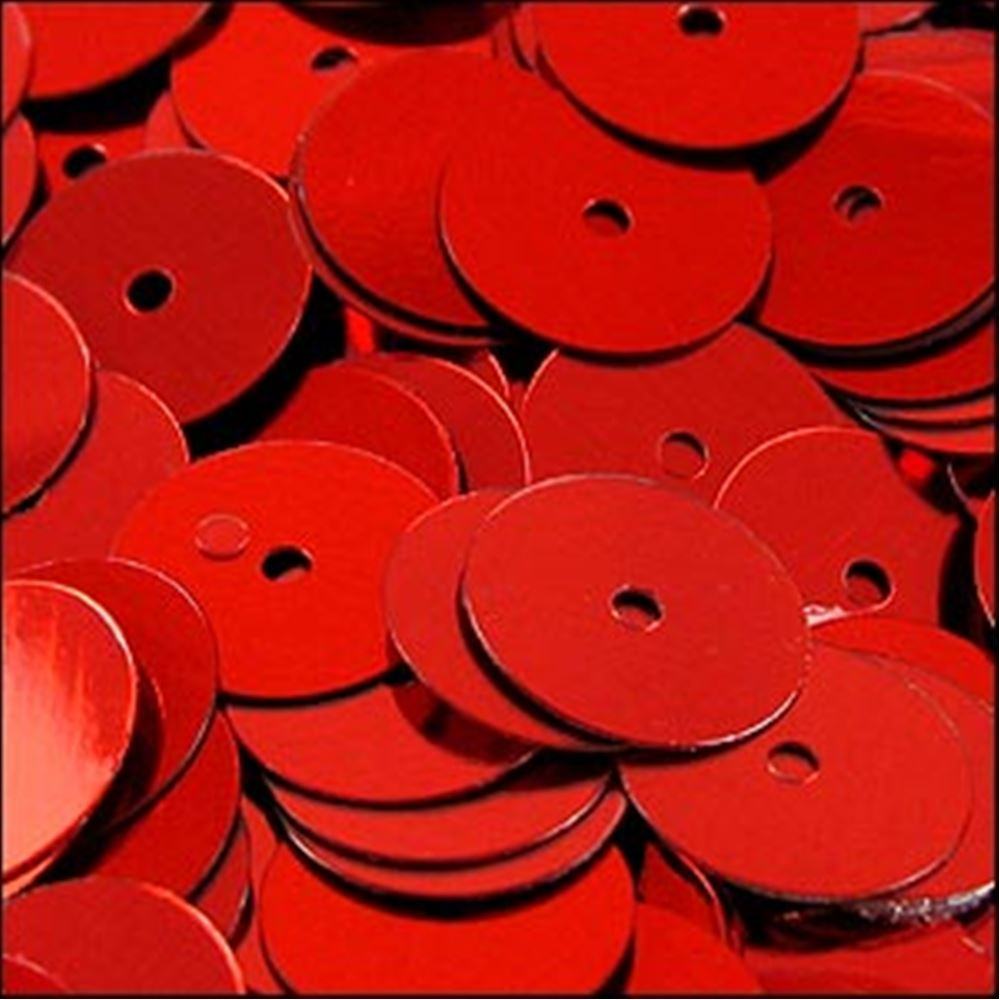 Metallic Red Flat Sequins. 10mm