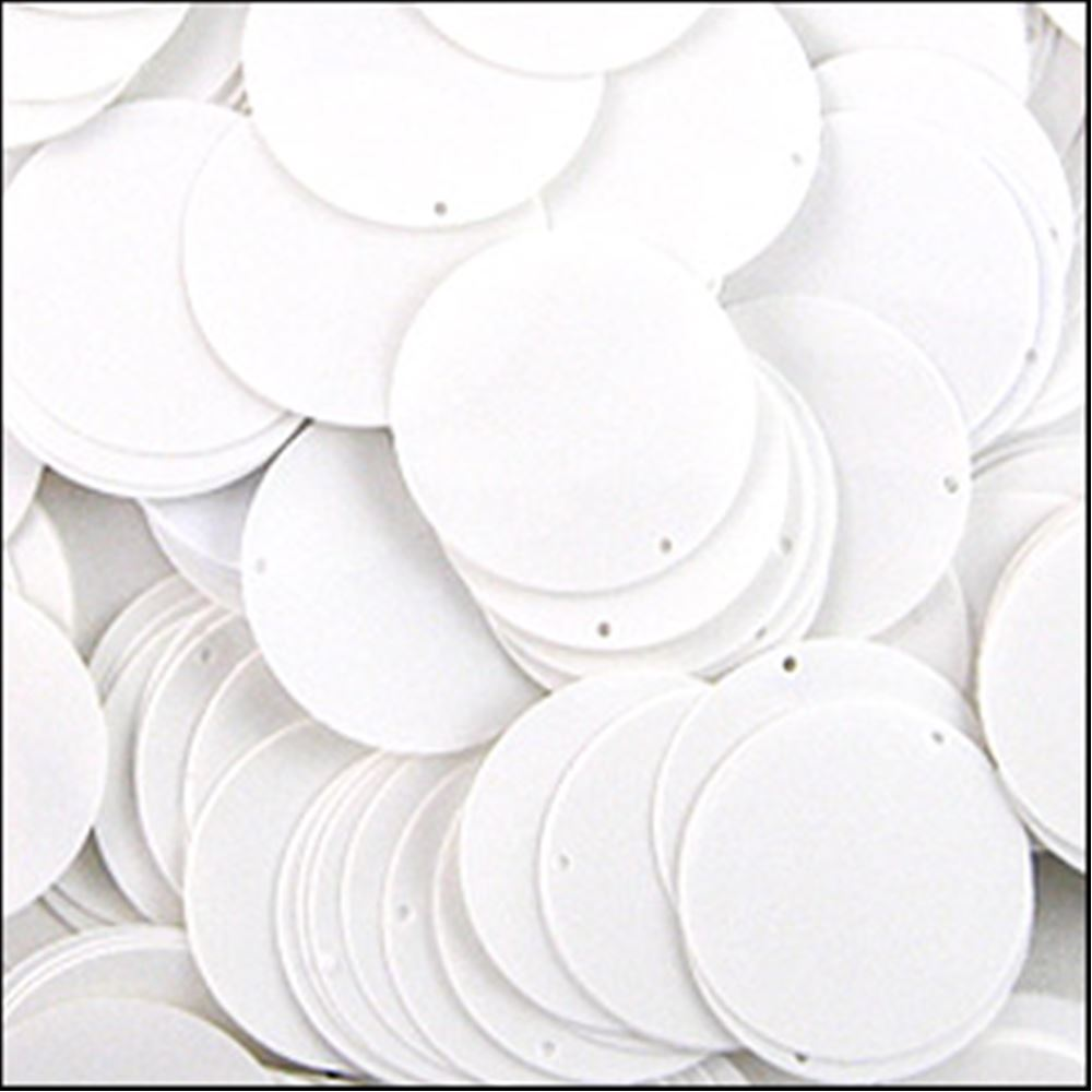 Glossy White Sequin Disc. 24mm