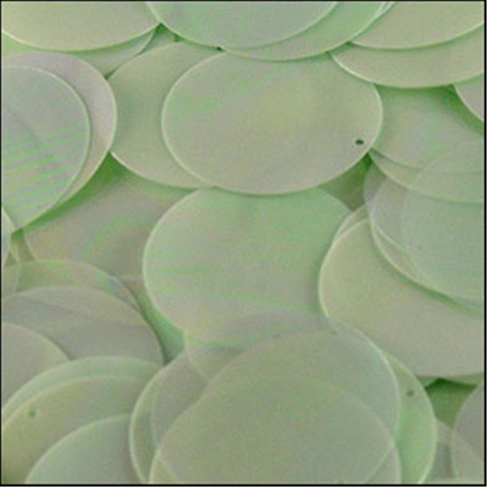 Glossy Green Opal Disk Sequins. 24mm