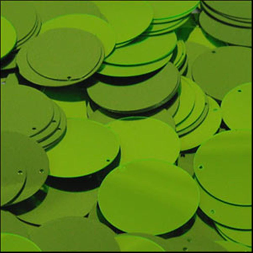 Metallic Lime Green Disk Sequins. 24mm