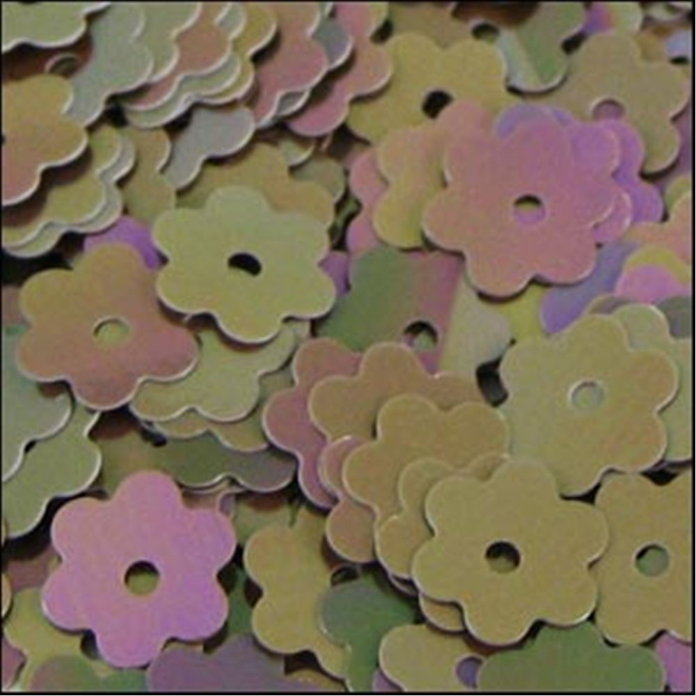 Glossy Fawn Flower Shaped Sequins. 6mm