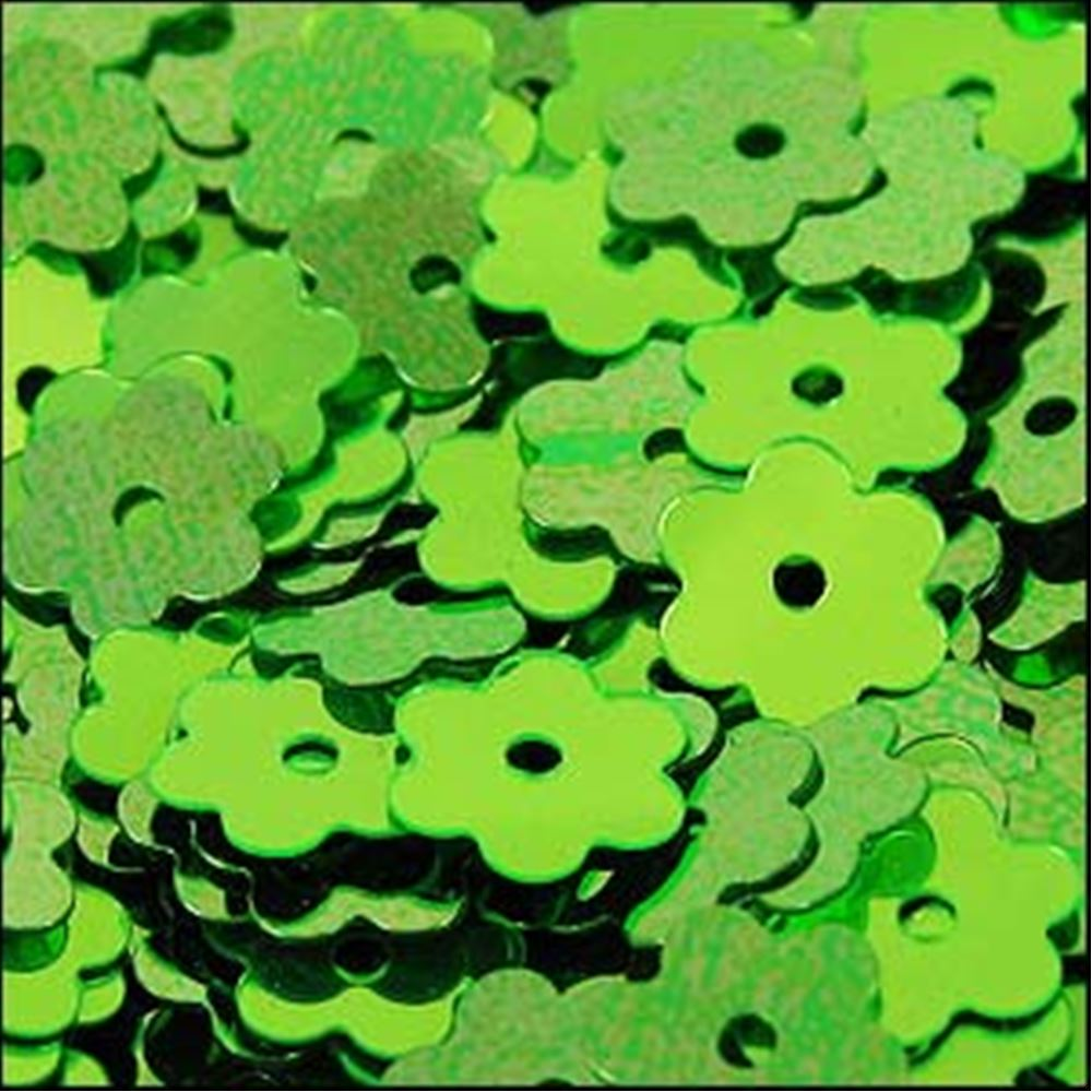Metallic Lime Green Flower Shaped Sequins. 6mm