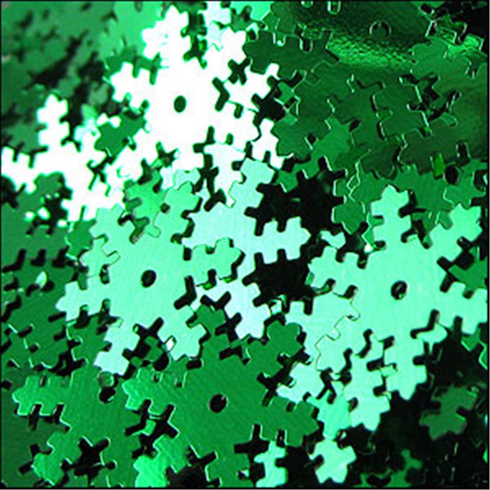 Emerald Snowflake Shaped Sequins. 14mm