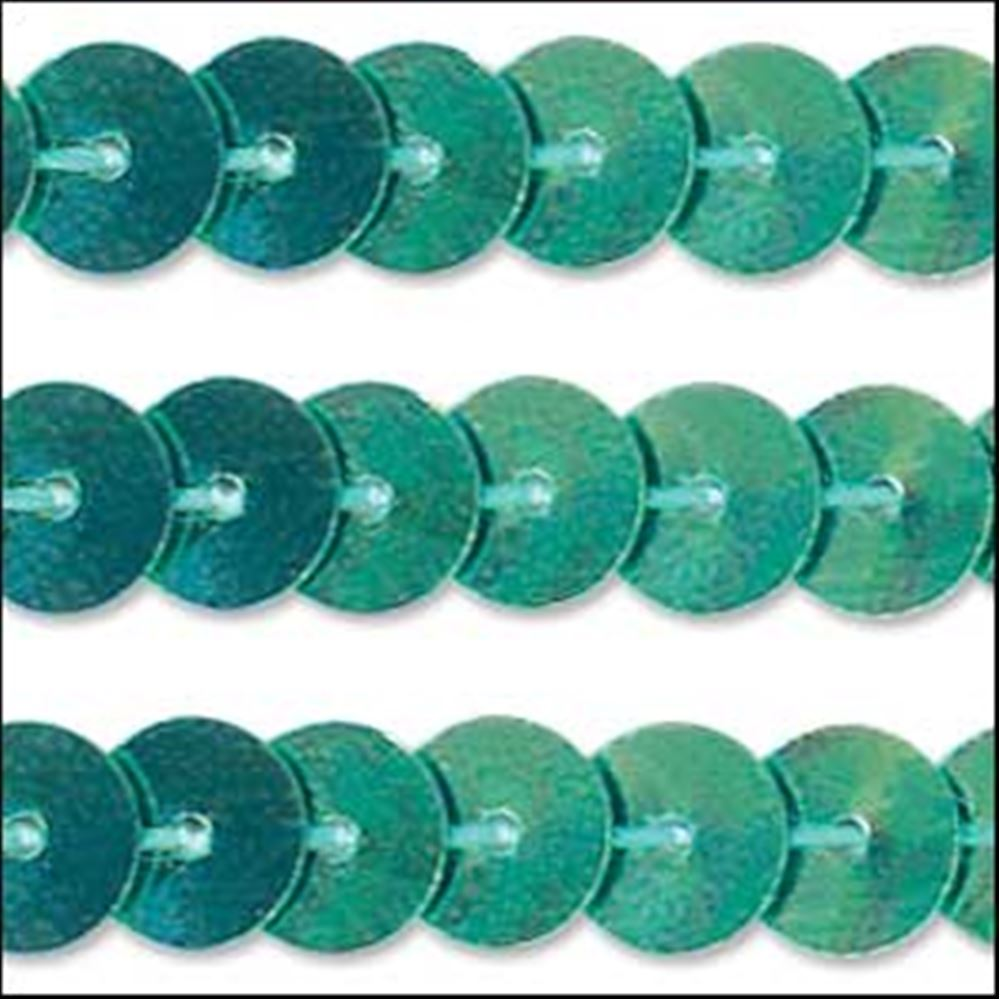 Metallic Green Aqua Sequin Trim - Rigid. 6mm
