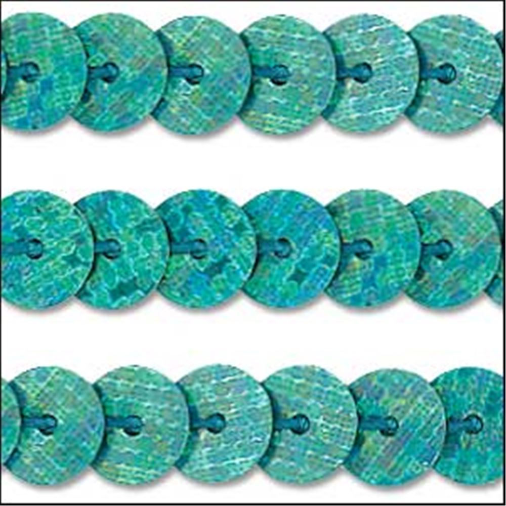 Hologram Amazon Green Sequin Trim - Rigid. 6mm