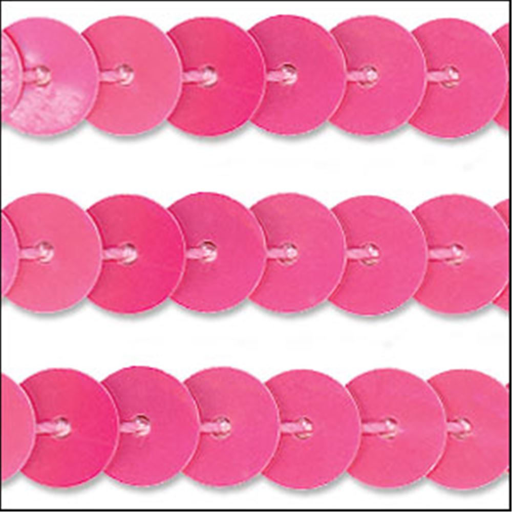 Glossy Bubblegum Pink Sequin Trim - Rigid. 6mm