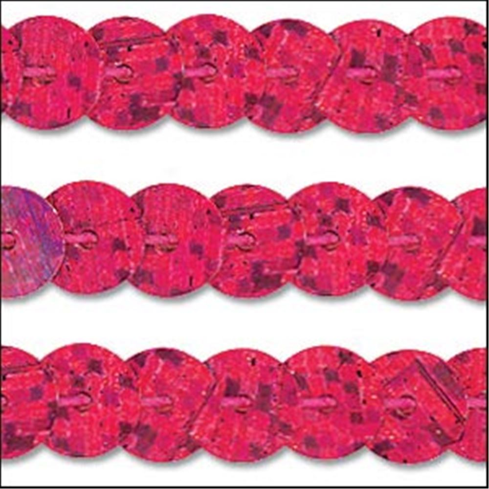 Hologram Pink Sequin Trim - Rigid. 6mm