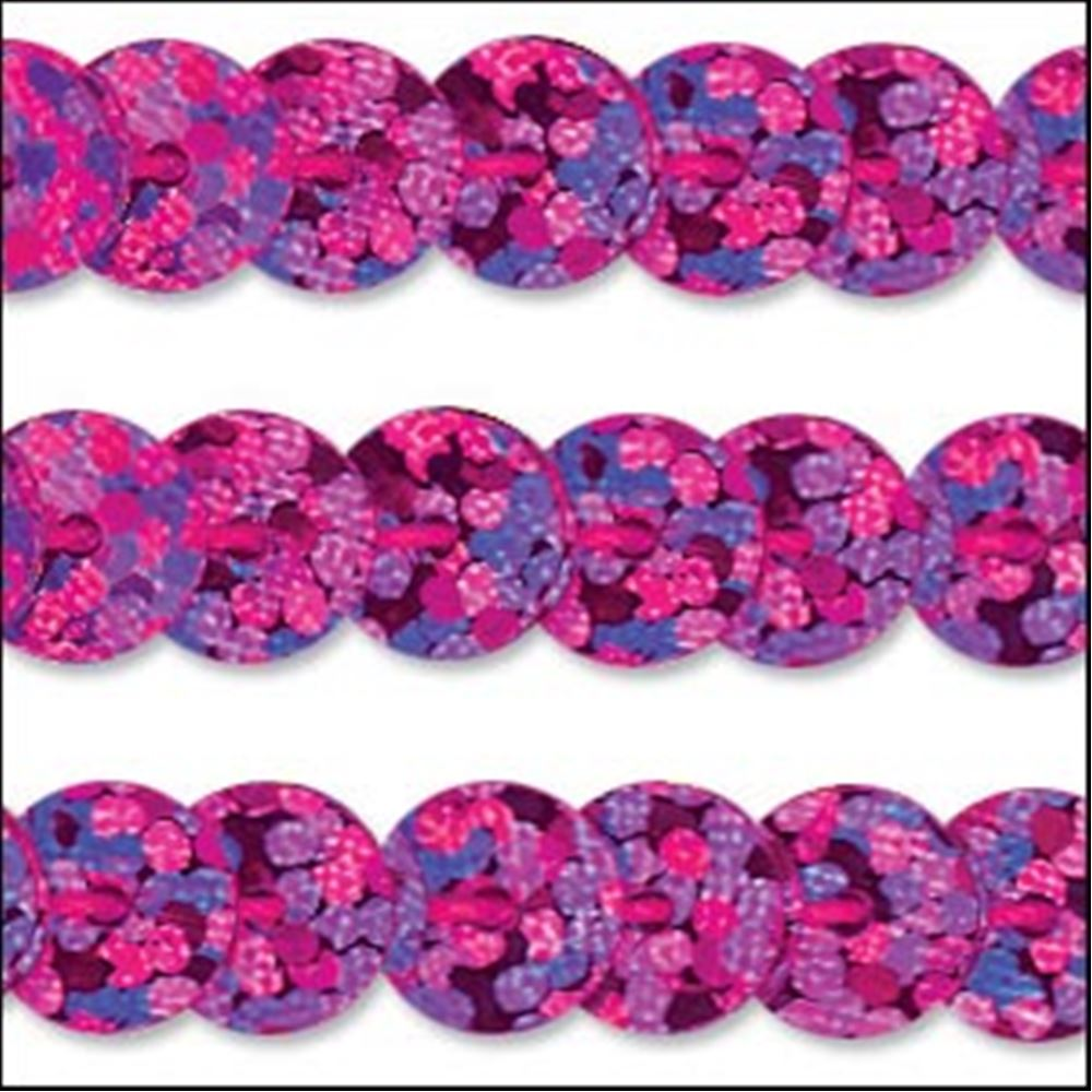 Hologram Fuchsia Sequin Trim - Rigid. 6mm