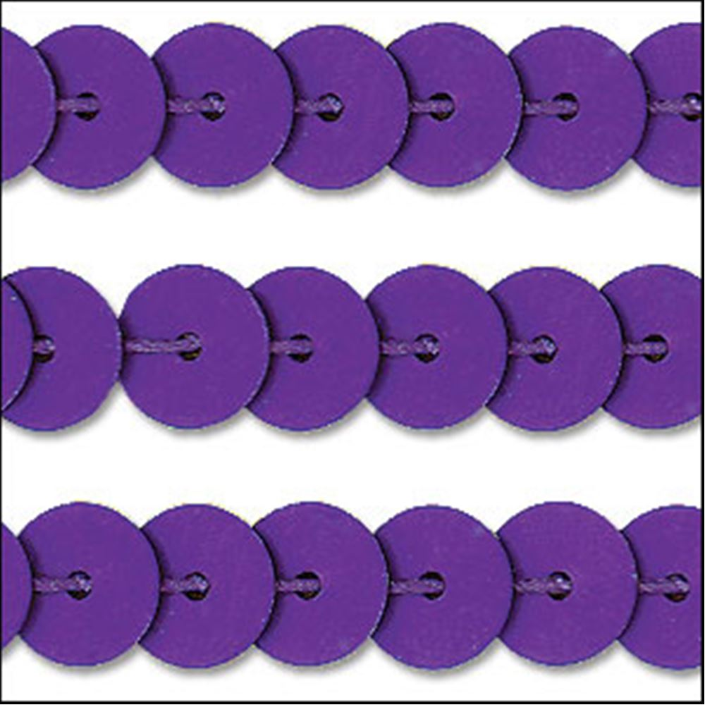 Matte Purple Sequin Trim - Rigid. 6mm