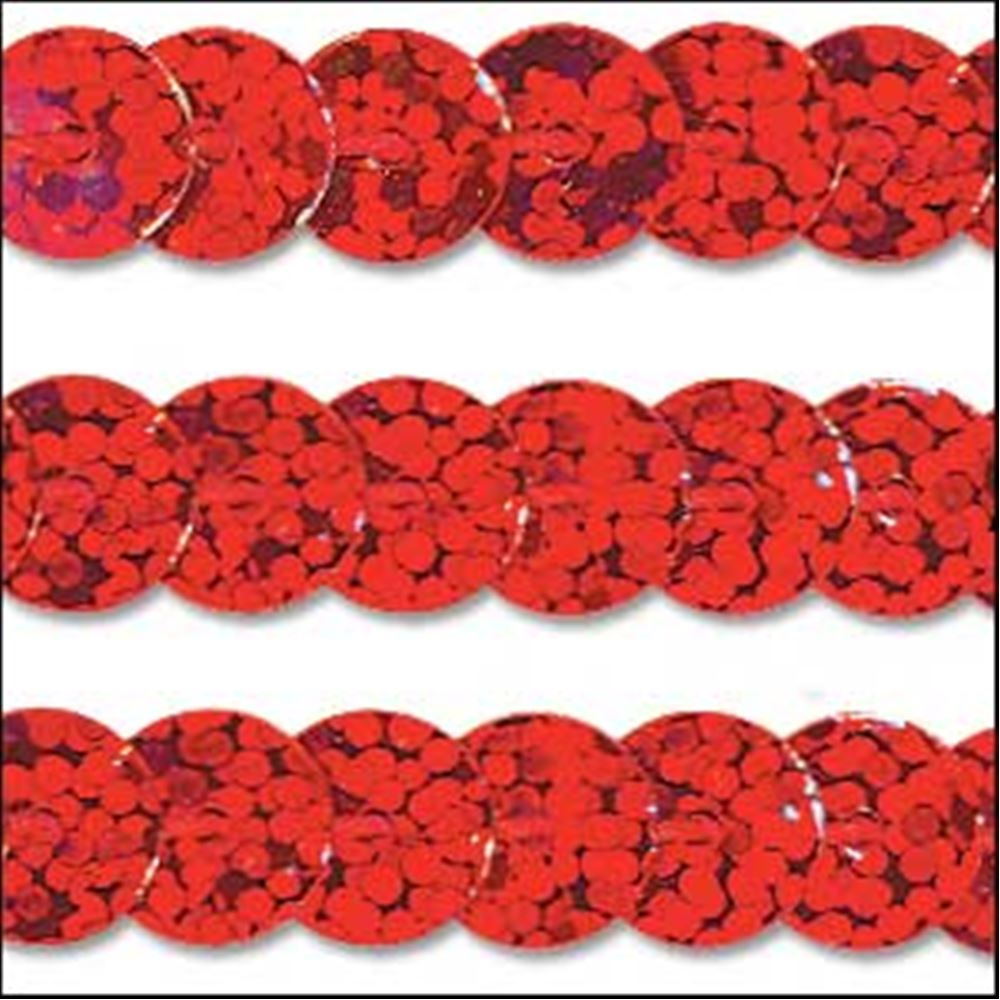 Hologram Red Sequin Trim - Rigid. 6mm