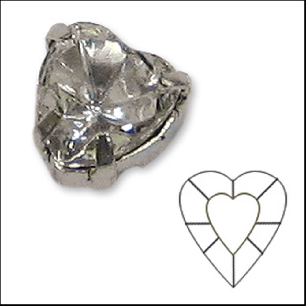 Clear Sew On Diamante X 12. Heart 5x5.5mm