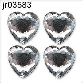 Rose Sew On Acrylic Stone X 6. Heart 10mm