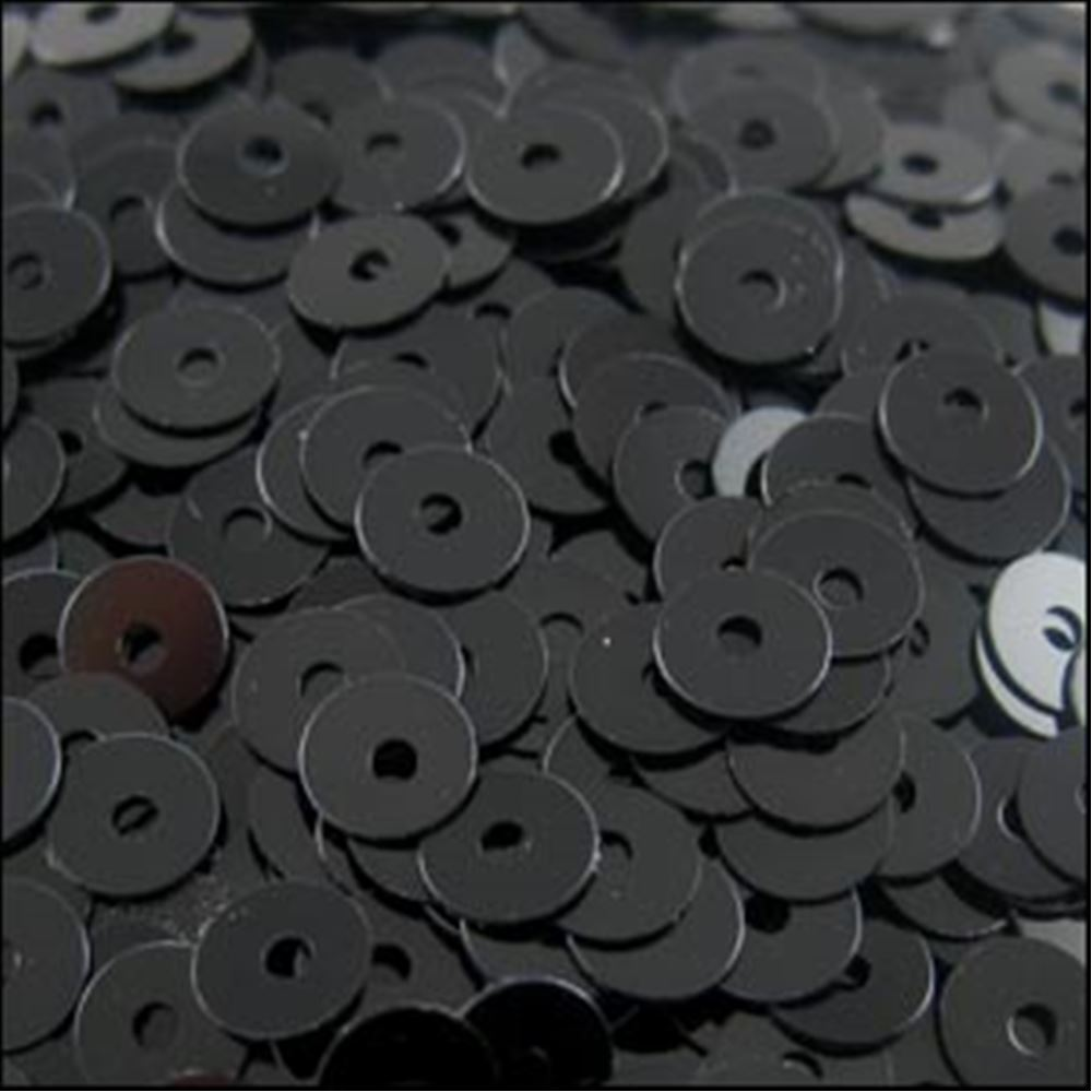 Glossy Black Flat Sequins. 5mm