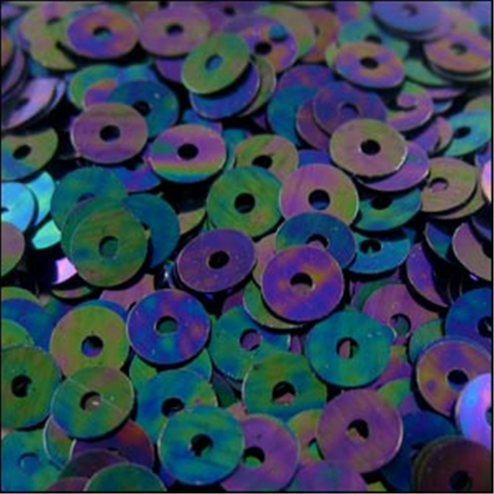 Metallic Petrol Black Flat Sequins. 5mm