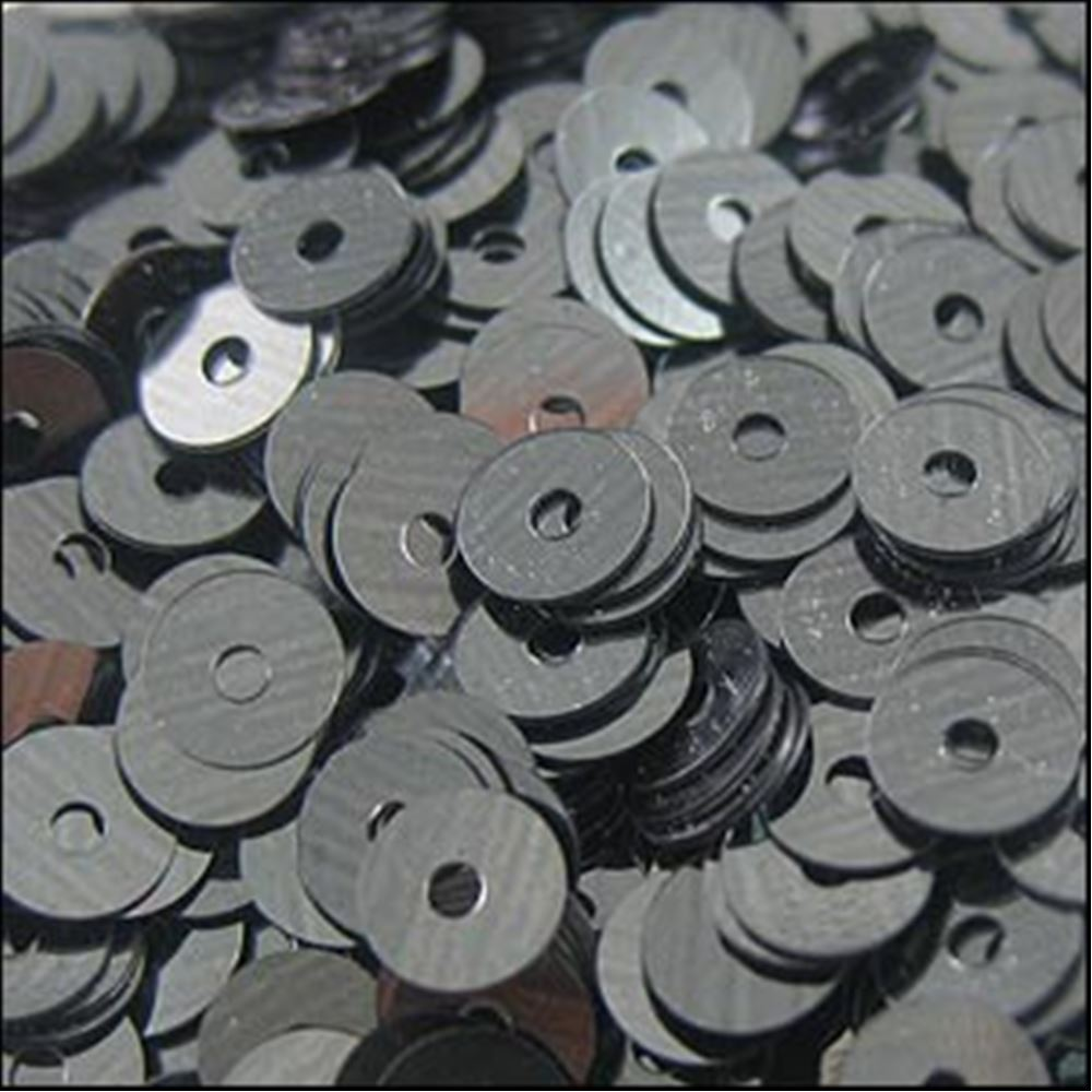 Metallic Gunmetal Flat Sequins. 5mm