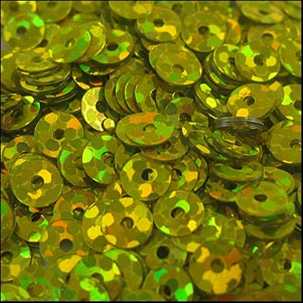 Hologram Gold Flat Sequins. 5mm