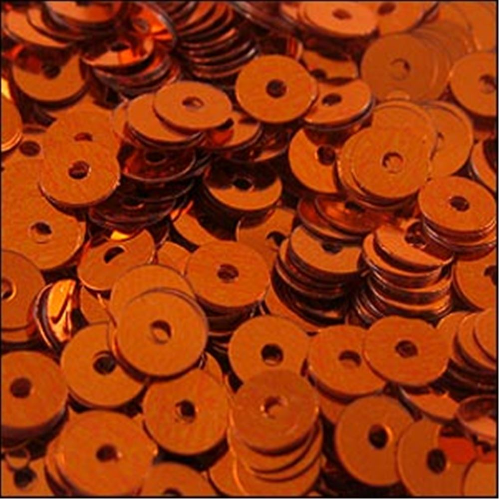 Metallic Orange Flat Sequins. 5mm